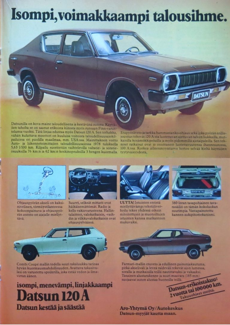 Päivän automainos: Datsun 120 A — Isompi, voimakkaampi talousihme