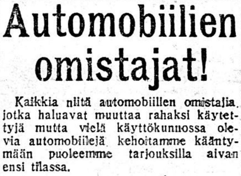 Historian havinaa: Näin käytettyjä autoja myytiin vuonna 1917 Suomesta Venäjälle