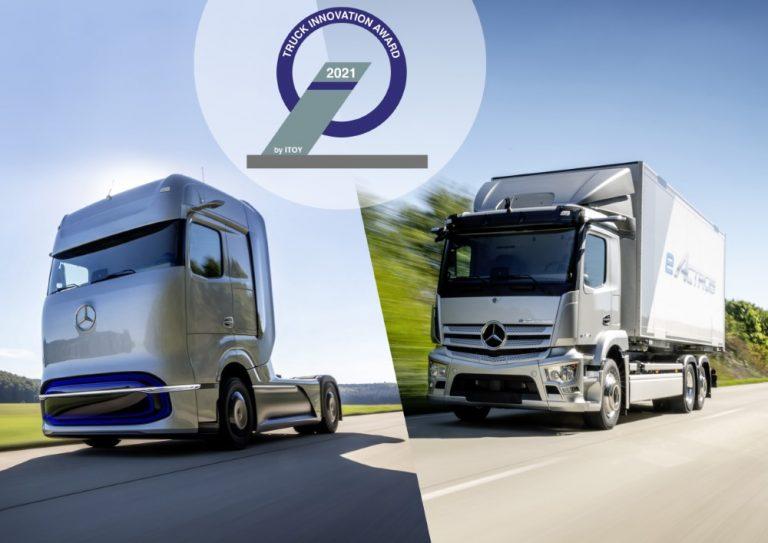 Kaksi Mercedes-Benzin kuorma-autoa palkittiin vuoden 2021 Truck Innovation Award -palkinnolla