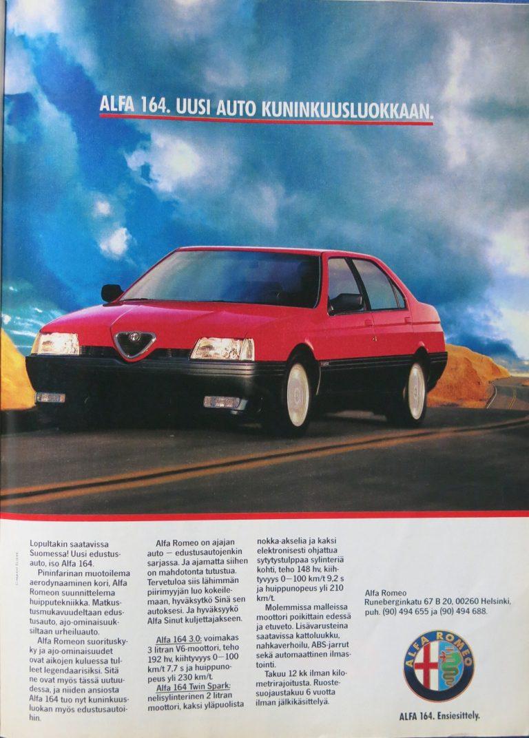 Päivän automainos: Alfa 164. Uusi auto kuninkuusluokkaan.