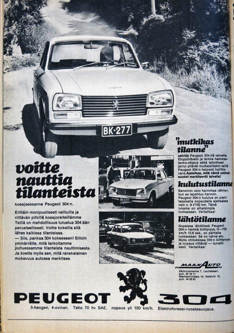 Päivän automainos: Voitte nauttia tilanteista koeajaessanne Peugeot 304:n