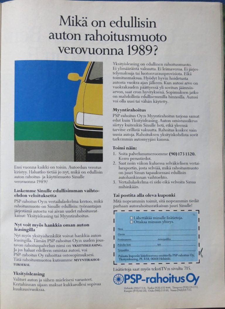 Päivän automainos: Mikä on edullisin auton rahoitusmuoto verovuonna 1989?
