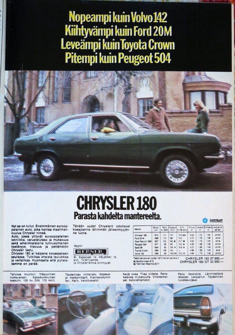 Päivän automainos: Nopeampi kuin Volvo 142, Kiihtyvämpi kuin Ford 20M, Leveämpi kuin Toyota Crown, Pitempi kuin Peugeot 504