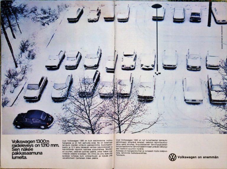 Päivän automainos: Volkswagen 1300:n raideleveys on 1310 mm. Sen näkee pakkasaamuna lumelta.