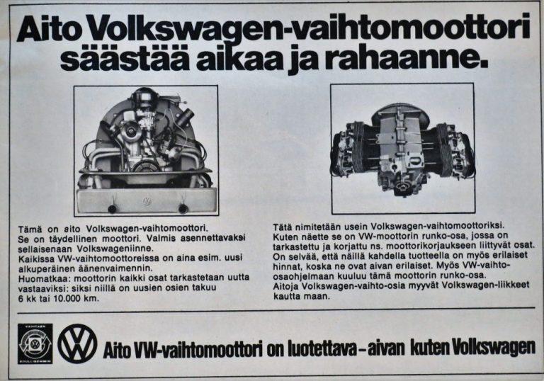 Päivän automainos: Aito Volkswagen-vaihtomoottori säästää aikaa ja rahaanne.