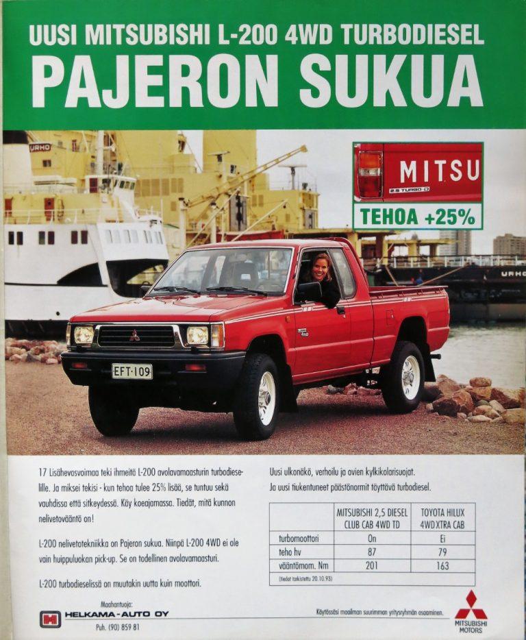 Päivän automainos: Uusi Mitsubishi L-200 4WD turbodiesel — Pajeron sukua