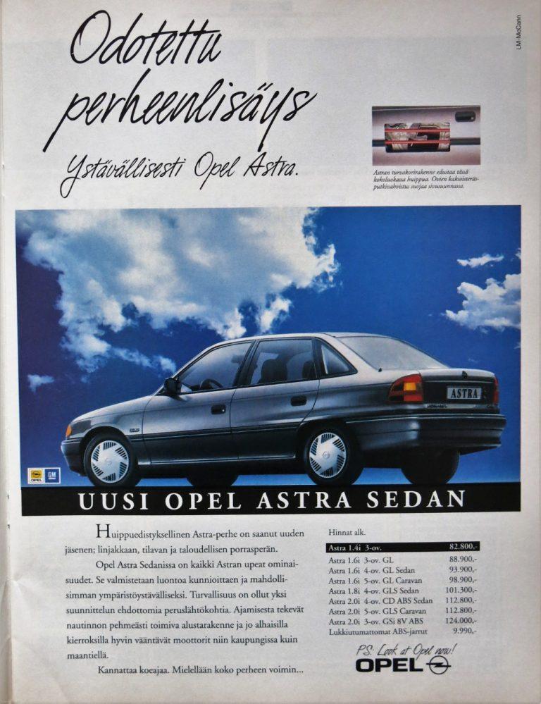 Päivän automainos: Odotettu perheenlisäys — Ystävällisesti Opel Astra