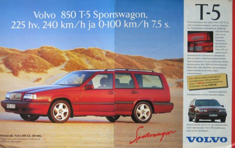 Päivän automainos: Volvo 850 T-5 Sportswagon, 225 hv, 240 km/h ja 0-100 km/h 7,5 s.