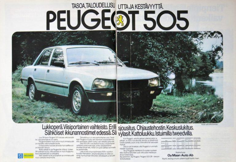 Päivän automainos: Tasoa, taloudellisuutta ja kestävyyttä. Peugeot 505