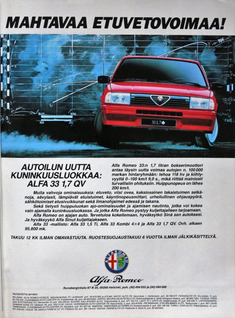 Päivän automainos: Mahtavaa etuvetovoimaa! Autoilun uutta kuninkuusluokkaa: Alfa 33 1,7 QV
