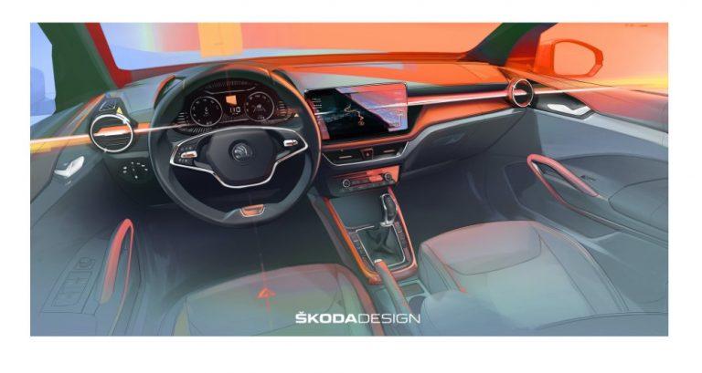 Škoda julkaisi ensimmäisen luonnoskuvan uuden Fabian ohjaamosta