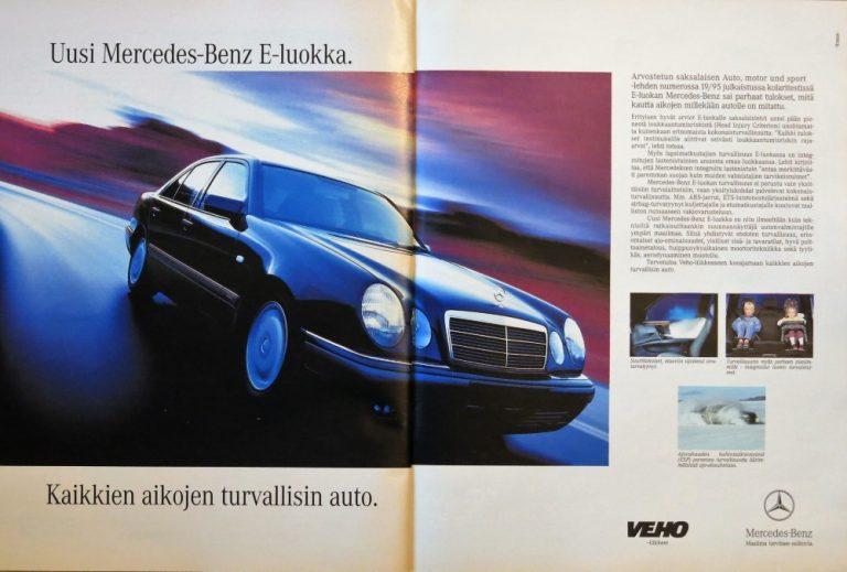 Päivän automainos: Uusi Mercedes-Benz E-luokka, kaikkien aikojen turvallisin auto