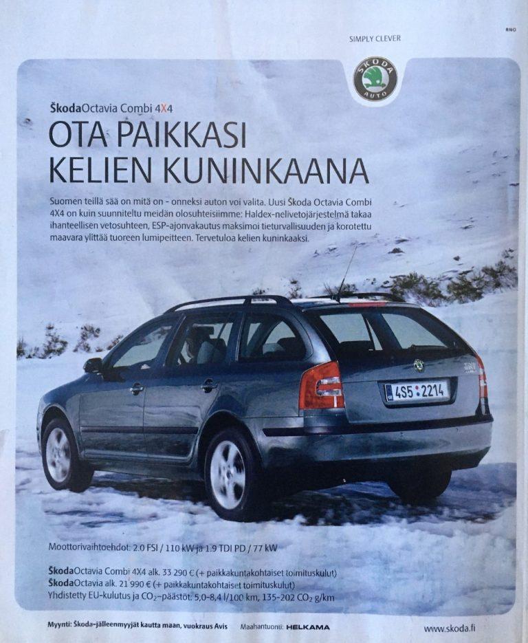 Päivän automainos: Škoda Octavia Combi 4×4 — Ota paikkasi kelien kuninkaana