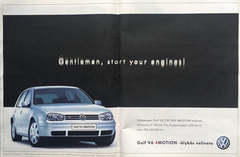Päivän automainos: VW Golf V6 4Motion — Gentlemen, start your engines!