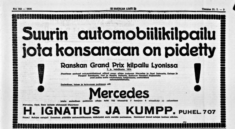 """Päivän automainos: """"Suurin automobiilikilpailu jota konsanaan on pidetty"""""""